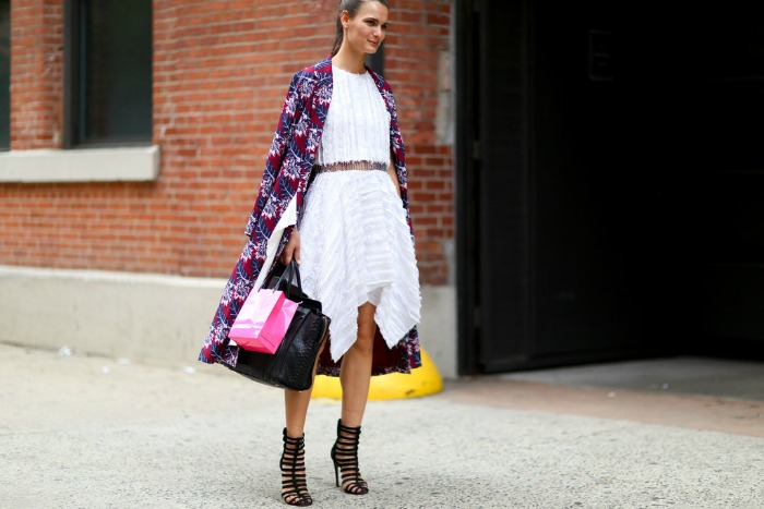 nyfw-white-dress-white-after-labor-day-fall-coat-statement-caot-printed-coat-texture-asymmetrical-hankerchief-hemline-cage-booti