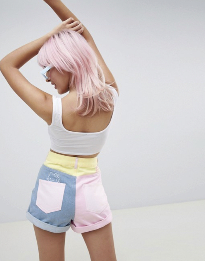 Hello Kitty x ASOS DESIGN colour block denim shorts with embroidery detail