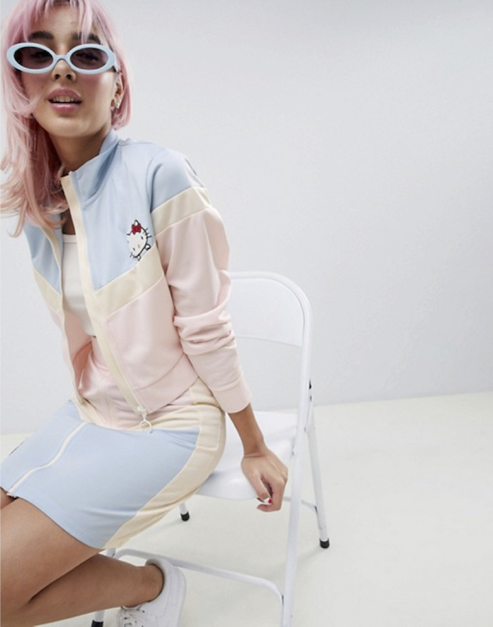 Hello Kitty x ASOS DESIGN cropped track jacket with embroidery detail